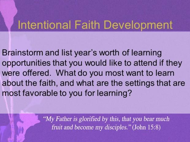 Intentional Faith Development