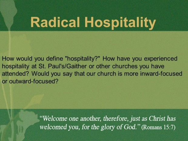 Radical hospitality discussion